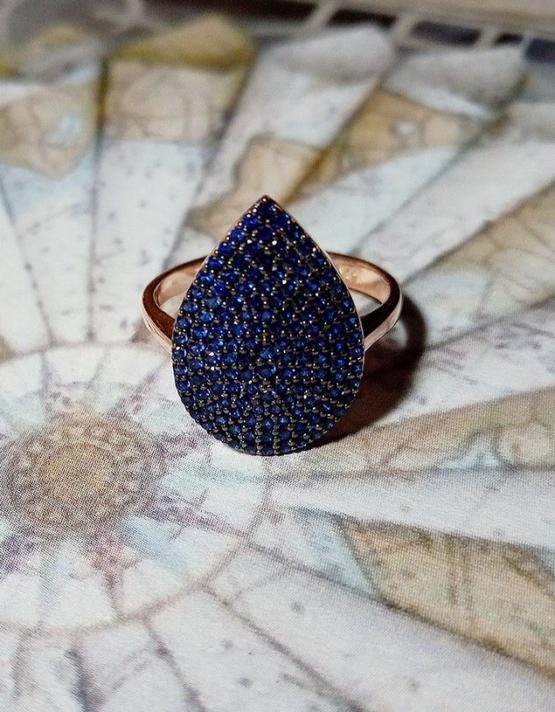 Μπλέ Σταγόνα Ασήμι 925 Δαχτυλίδι