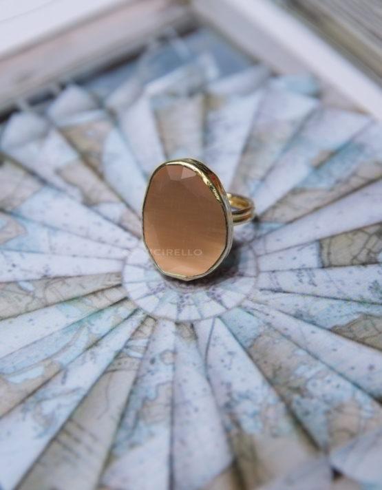 Κρεμ Επίχρυσο Δαχτυλίδι