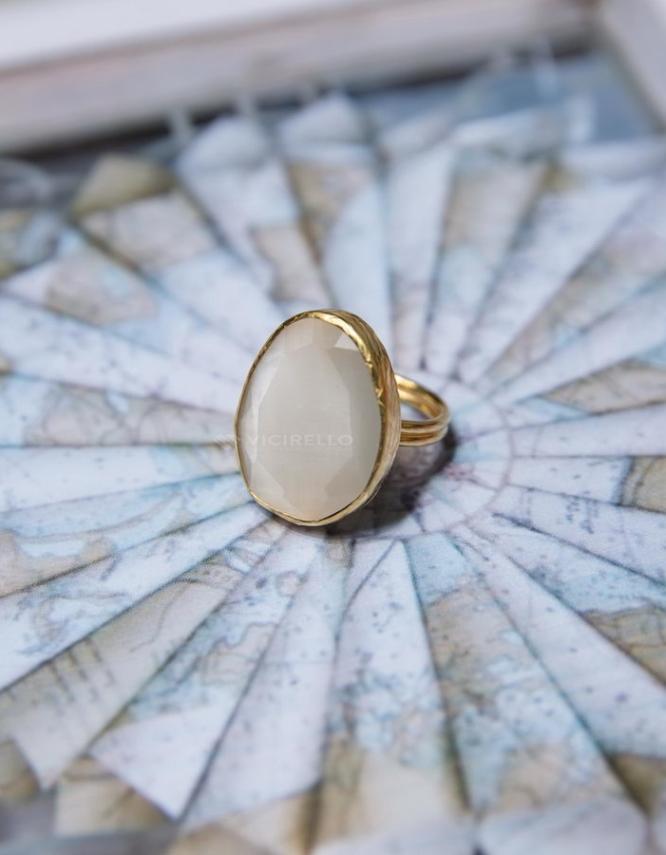 Λευκή Επίχρυσο Δαχτυλίδι