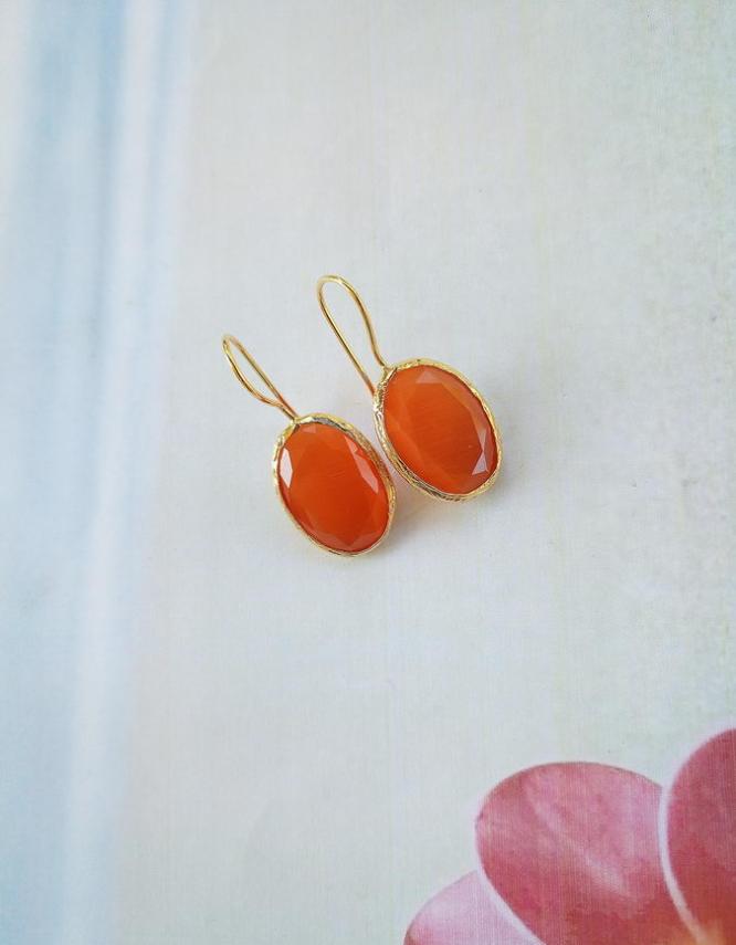 Μάταλα Πορτοκαλί Σκουλαρίκια