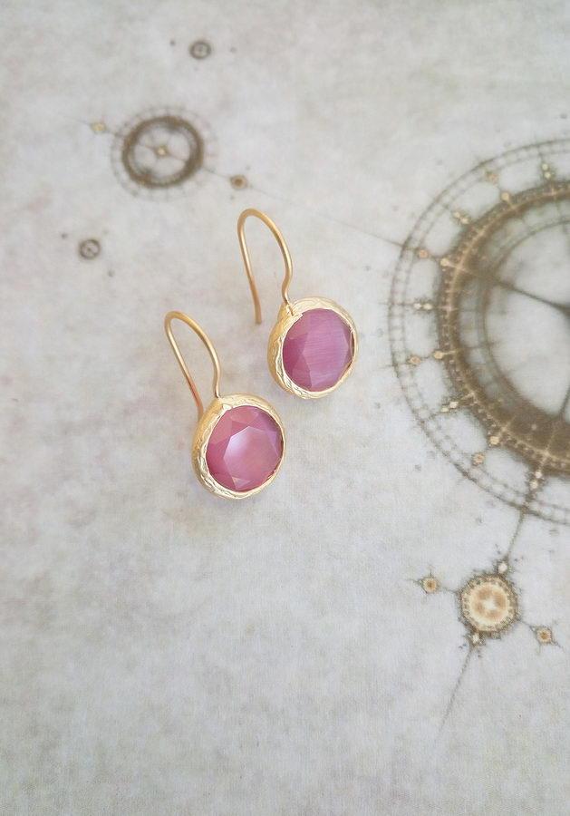 Χαρά Επίχρυσα Ροζ (σκούρο) Σκουλαρίκια
