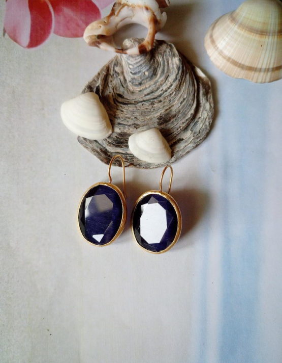 Μαρίνα Οβάλ Επίχρυσο Ασήμι 925 Σκουλαρίκια (μπλέ σκούρο)