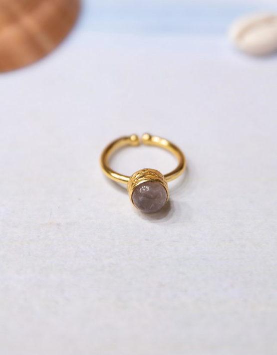 Βιολέτα Γκρί Επίχρυσο Δαχτυλίδι