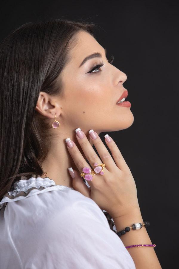Χαρά Επίχρυσα Ροζ (ανοιχτό) Σκουλαρίκια
