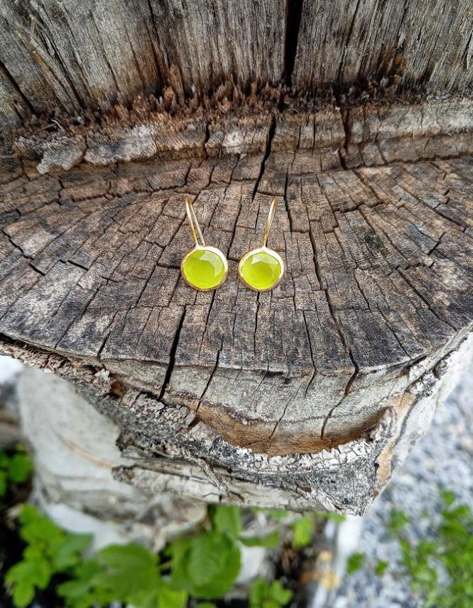 Χαρά Επίχρυσα Κίτρινα Σκουλαρίκια