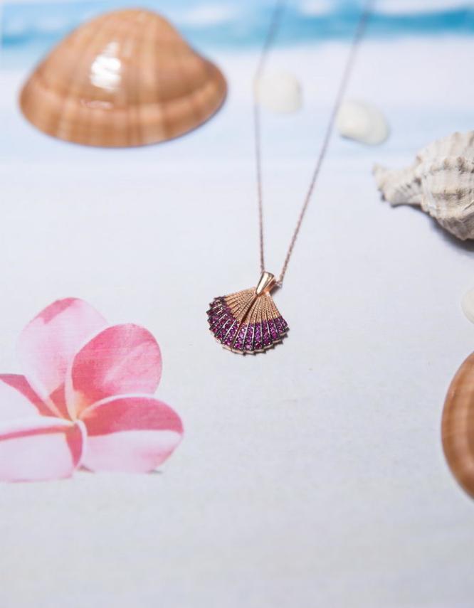 Κοχύλι Ασήμι 925 Rose Gold Κολιέ Ανοιγόμενο-Φουξ