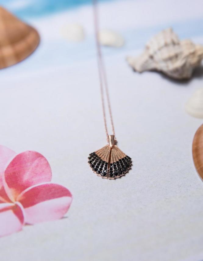 Κοχύλι Ασήμι 925 Rose Gold Κολιέ Ανοιγόμενο-Μαύρο