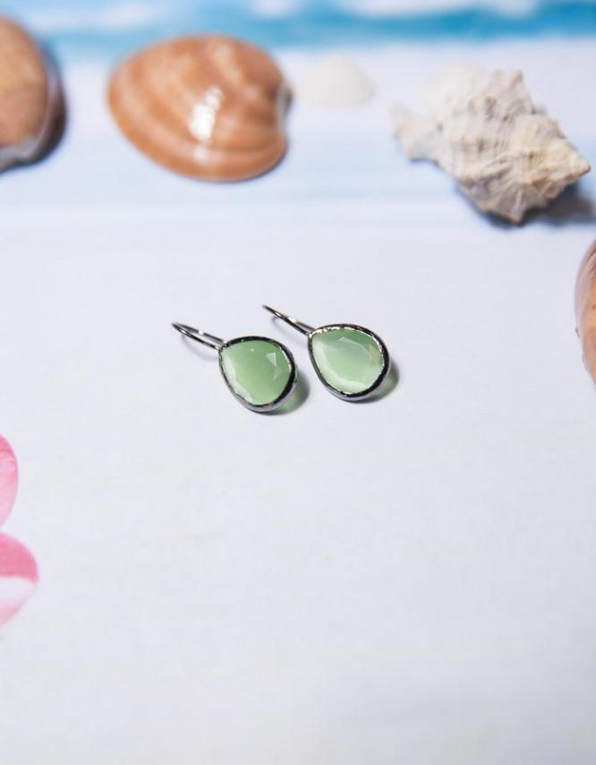 Ίρις Πράσινα Σκουλαρίκια(Οβάλ+Δάκρυ)