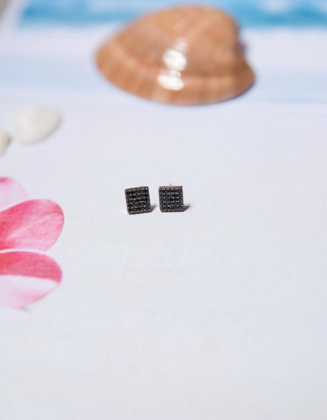 Καλλιρόη Ασήμι 925 Μαύρα Σκουλαρίκια
