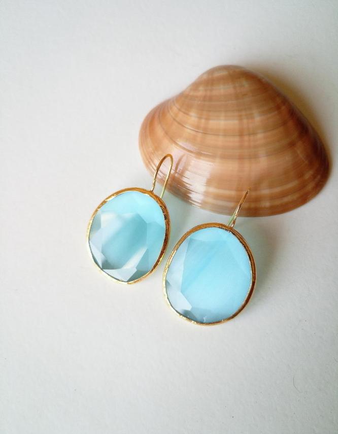 Λευκάδα 1 Γαλάζια Σκουλαρίκια