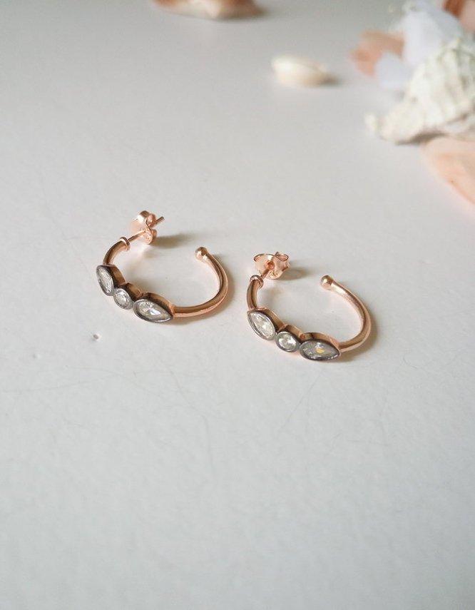 Rose Gold Ασήμι 925 3 Πέτρες (+Χρώματα)