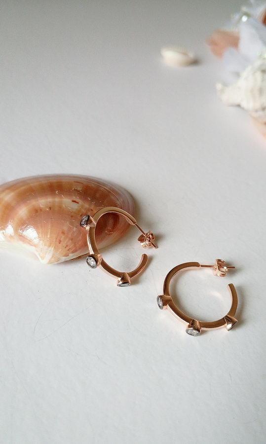 Αριάδνη Ασήμι 925 Rose Gold Σκουλαρίκια
