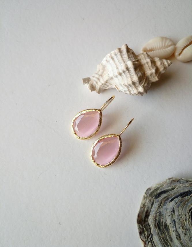 Ροζ Δάκρυ Σκουλαρίκια