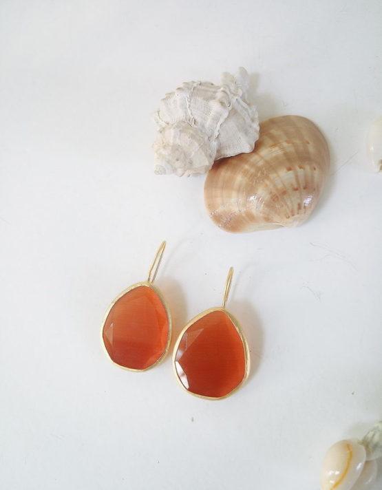 Πορτοκαλί Σταγόνα Επίχρυσο Ασήμι 925
