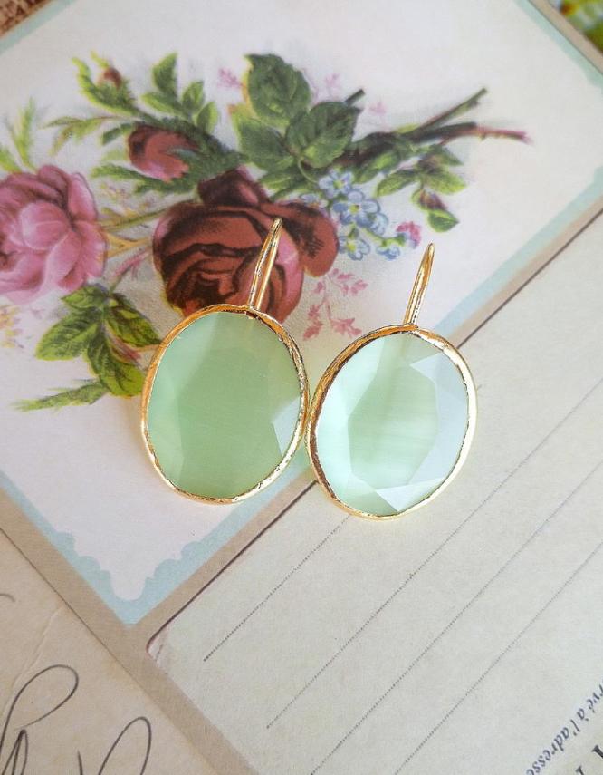 Πράσινα Επίχρυσο Ασήμι 925 Οβάλ Σκουλαρίκια