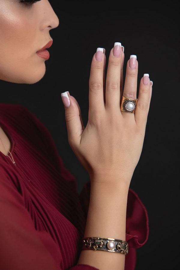 Βασιλική Επίχρυσο Δαχτυλίδι Πέρλα