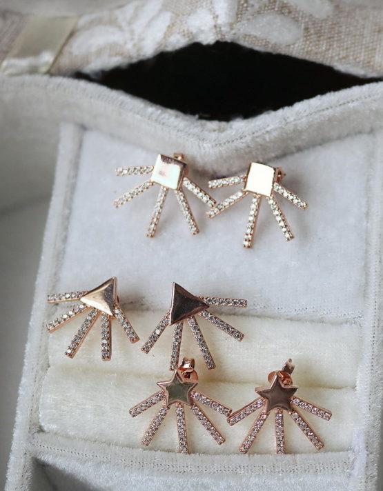 Ηλιαχτίδα Ασήμι 925 Rose Gold Σκουλαρίκια