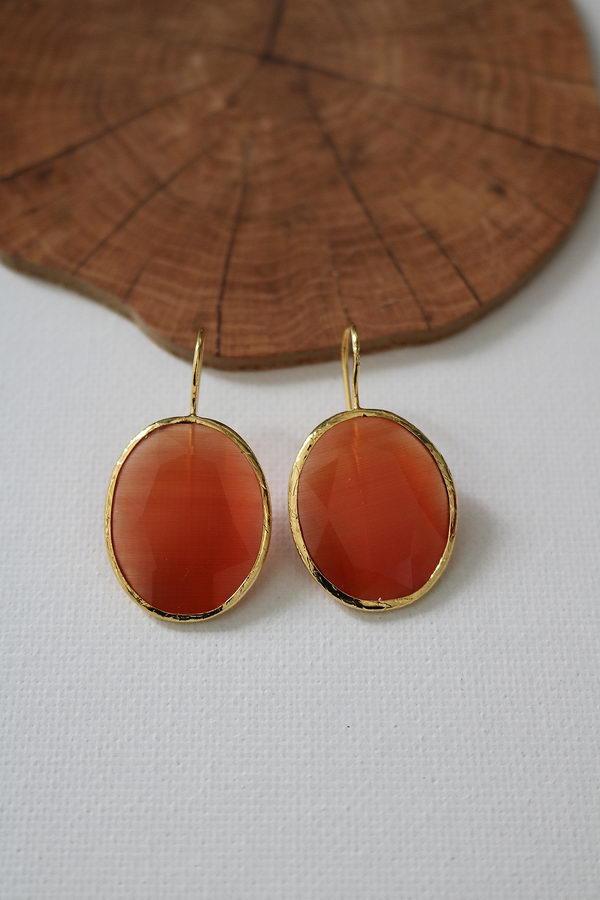 Σκιάθος Πορτοκαλί Οβάλ Ασήμι 925