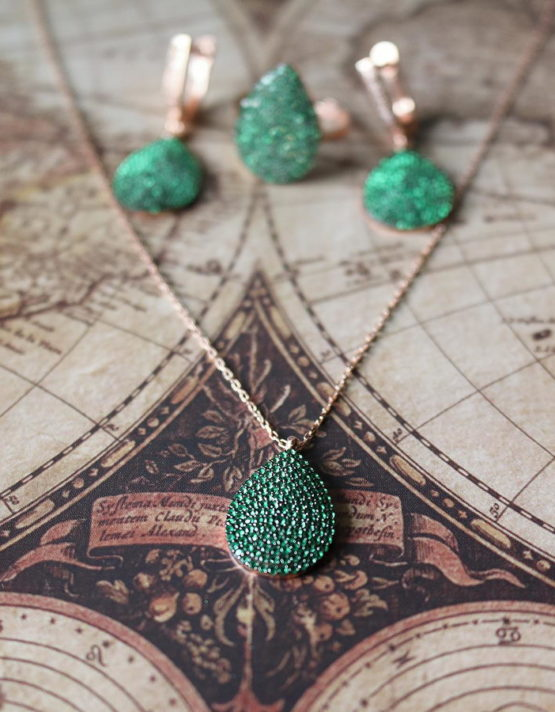 Αέλια Πράσινο Ασήμι 925( Σετ ή Μεμονωμένα)