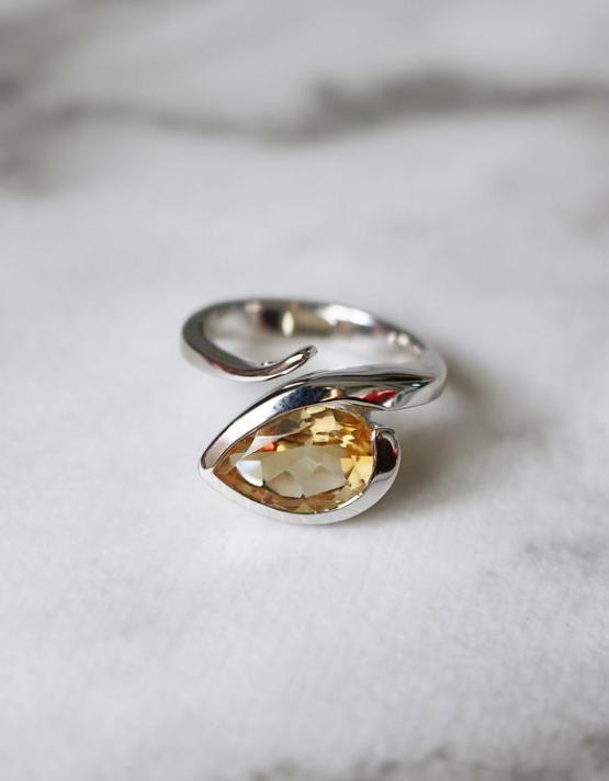 Ουρανία Ασήμι 925 Δάκρυ Δαχτυλίδι (Blue Sky Topaz ή Citrin)