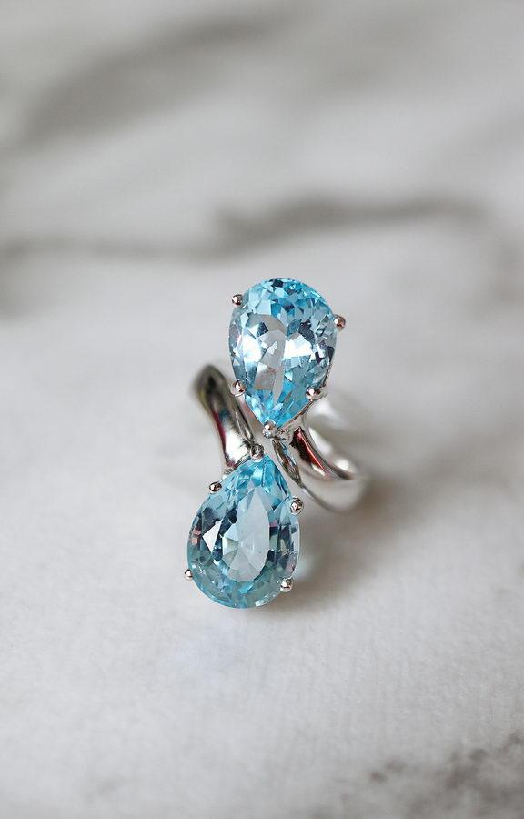 Ουρανία Ασήμι 925 Δαχτυλίδι (Blue Sky Topaz ή Citrin)