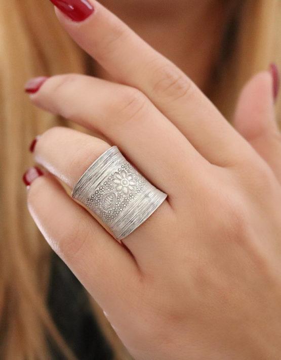 Θιβέτ Μεγάλο Δαχτυλίδι Ασήμι 925