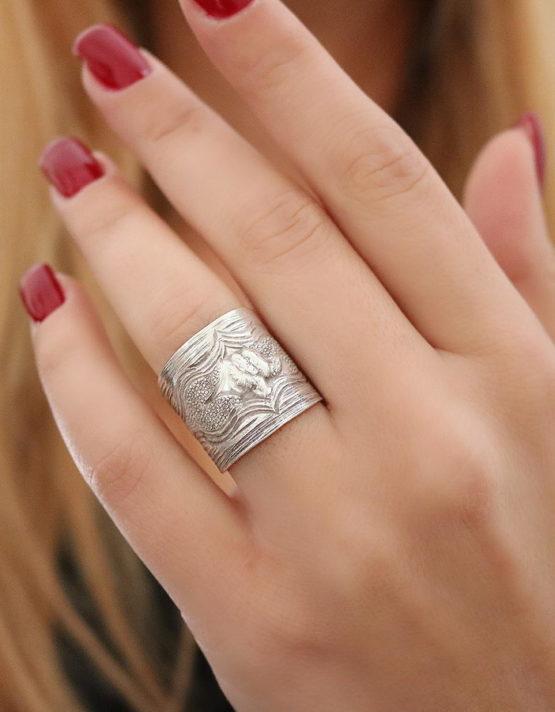 Θιβέτ 4 Ελέφαντας Δαχτυλίδι Ασήμι 925