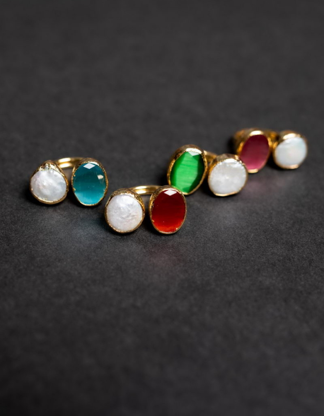 Ιάνθη Διπλό Δαχτυλίδι με Πέρλα (+Χρώματα)
