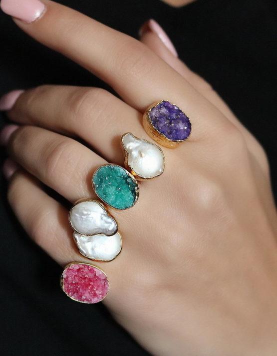 Αριάδνη Πέρλα Διπλό Δαχτυλίδι