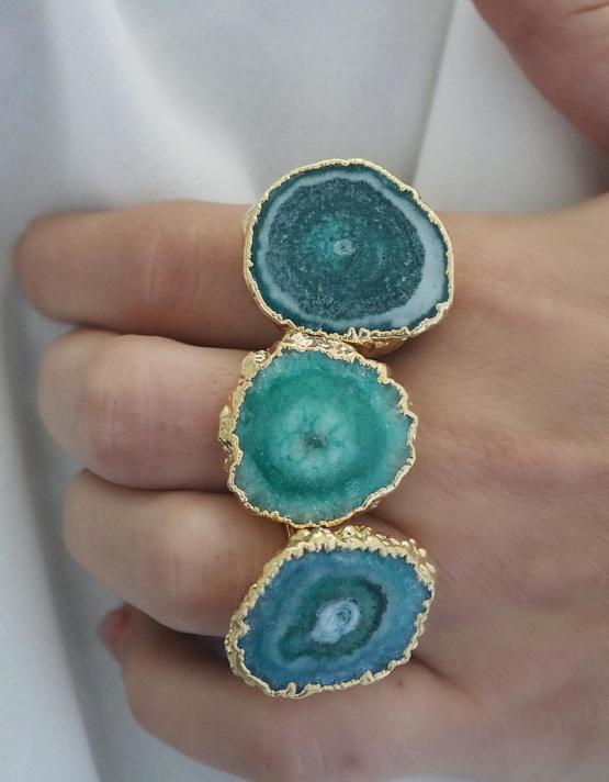 Ατλαντίδα Γαλάζιος Αχάτης Δαχτυλίδι