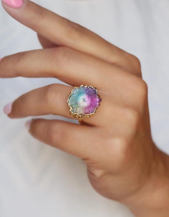 Ατλαντίδα Mix Color Αχάτης Δαχτυλίδι