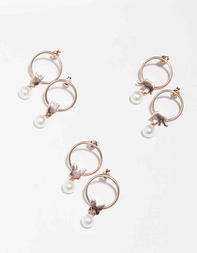 Small Πέρλα Hoops Ασήμι 925 Rose Gold(+Επιλογές)