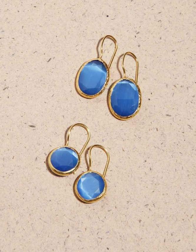 Γαλάζια Επίχρυσα Σκουλαρίκια (Δύο Σχήματα)