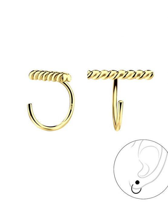 Twisted Bar Ear Huggers Gold