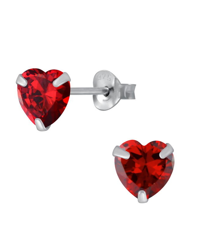 Γρανάτης Καρδιά Σκουλαρίκια