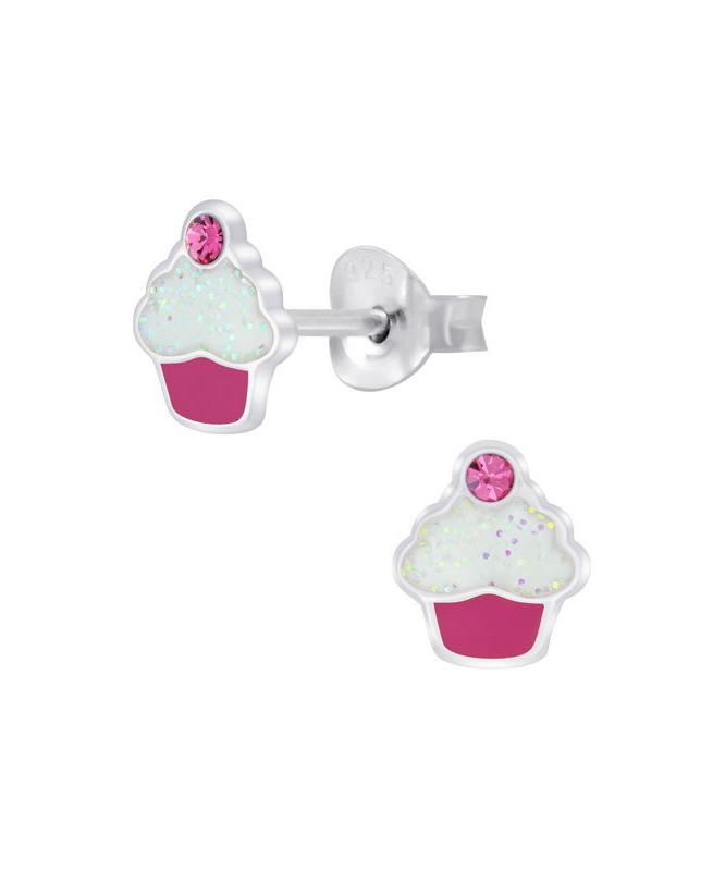Cupcakes Καρφωτά Σκουλαρίκια Ροζ Ζιργκόν