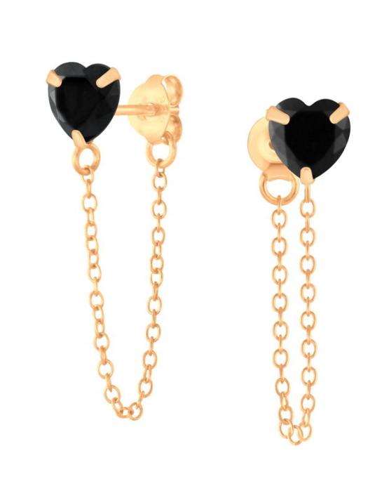 Μαύρη Καρδιά Rose Gold Αλυσίδα Σκουλαρίκια