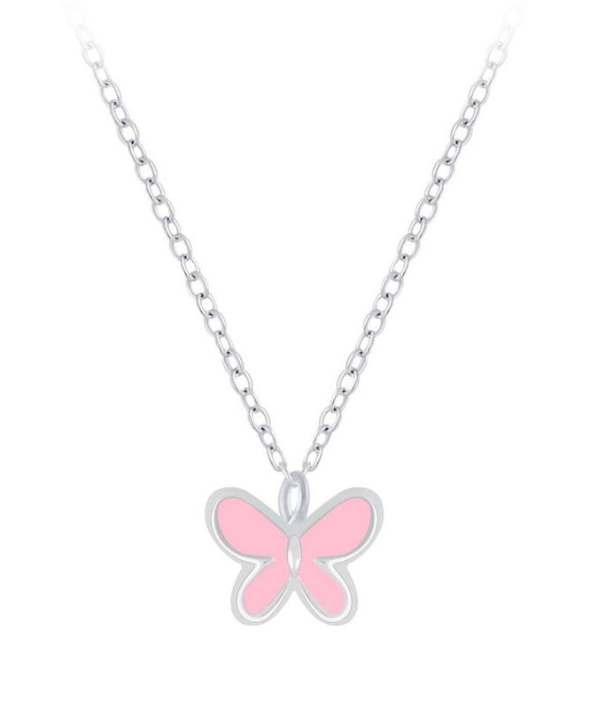 Ροζ Πεταλούδα Παιδικό Κολιέ