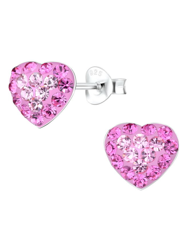 Ροζ Καρδιές Καρφωτά Σκουλαρίκια
