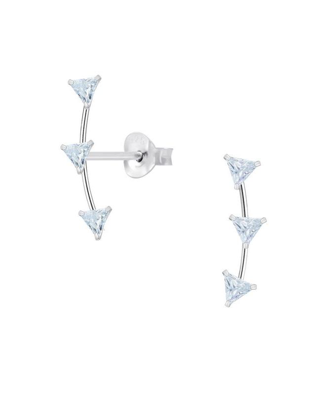 Ίνα Ασήμι 925 Γεωμετρικά Σκουλαρίκια