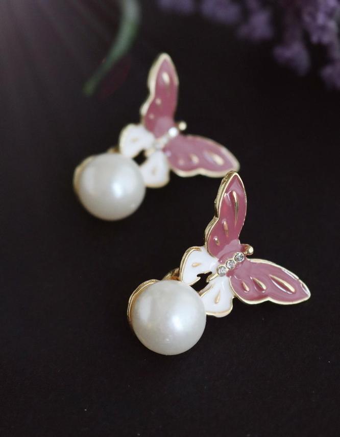 Πεταλούδες Σκουλαρίκια με Πέρλα