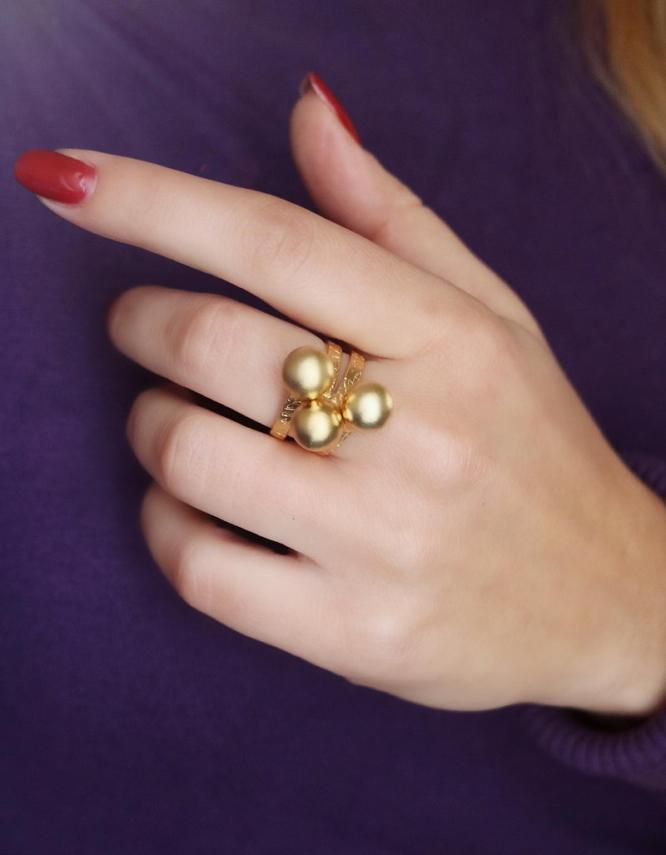 Κοραλία Δαχτυλίδι Χρυσό Χρώμα