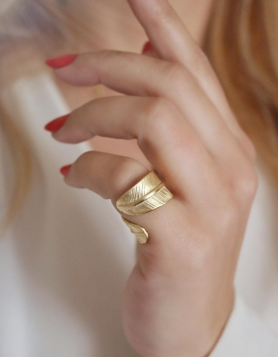 Φύλλο Δαχτυλίδι Χρυσό Χρώμα