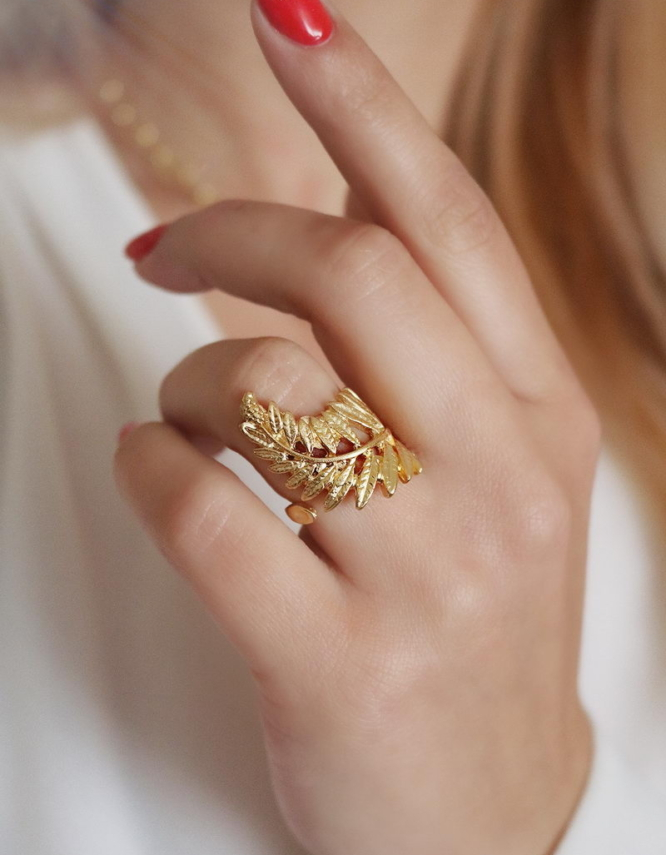 Φτέρη Δαχτυλίδι Χρυσό Χρώμα