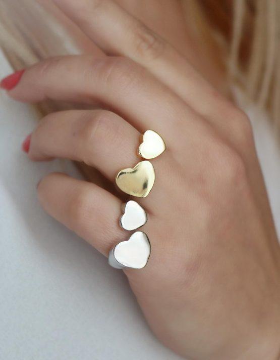 Διπλή Καρδιά Δαχτυλίδι Chevaliere