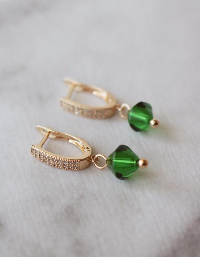 Νεφέλη Σκουλαρίκια Πράσινη Πέτρα