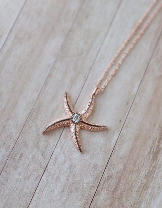 Αστερίας Rose Gold Ασήμι 925 Κολιέ Κοχύλι
