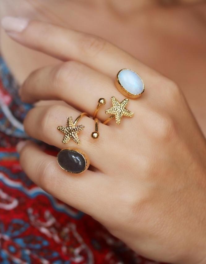 Αστερίας Δαχτυλίδι Οβαλ Πέτρα
