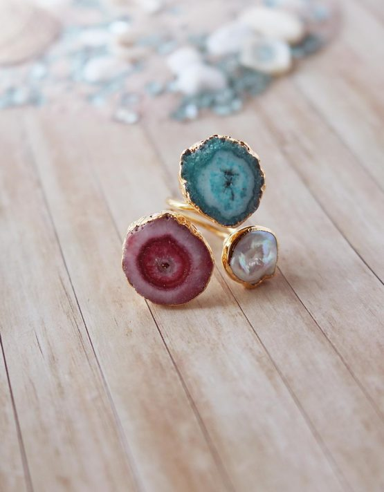 Ατλαντίδα Mix Color Τριπλό Δαχτυλίδι με Πέρλα