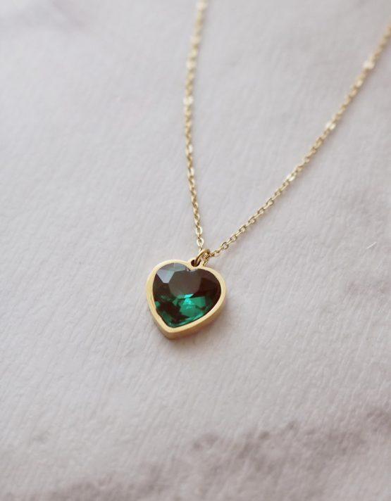 Πράσινη Καρδιά Stainless Steel Κολιέ
